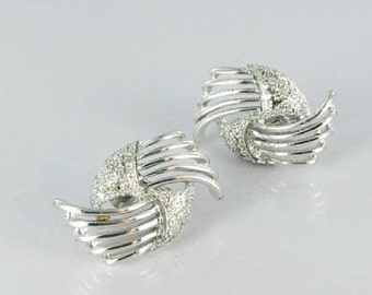 Coro Cut Out Clip Back Earrings Silver tone Swirled Vintage Signed