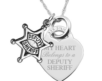 My Heart Belongs to a Deputy Sheriff 925 Silver Heart Necklace (can be personalised/engraved)