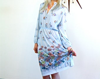 Vintage 70s dress, CALIFORNIA GIRL, Poppy Print Dress, Light Powder Blue, Long Sheer Sleeve, Poppies Flowers,1970s floral dress,pretty dress