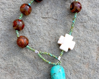 Tibetan (Dzi) agate and turquoise with a white howlite jasper teardrop prayer bracelet- Anglican/ Protestant rosary bracelet