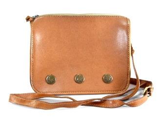 Indonesian Leather Crossbody Bag.  Vintage Coin Purse. Tan Leather Handbag Shoulderbag