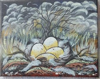 Bird's eggs in country nest
