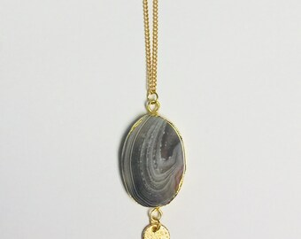 Gray-Multi Geode Pendant Necklace