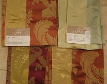 Floral Striped Damask Silk Cotton Designer Fabric Sample Embossed Pick a COLOR