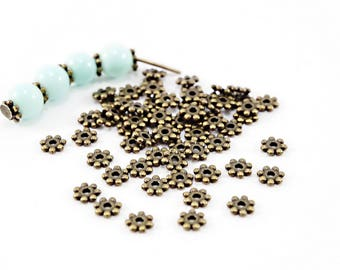 Spacer beads form snowflake (x 50) - diameter 4.5 mm - color Bronze