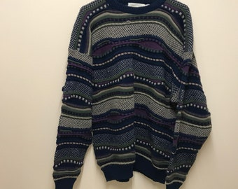 Vintage 80s/90s Cosby/Coogi Style - Knit Sweater - Large