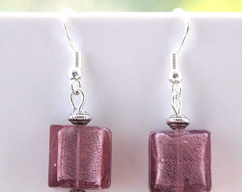 Purple Indian Glass Earrings with Sterling Silver Hooks New Drops Dangle LB21