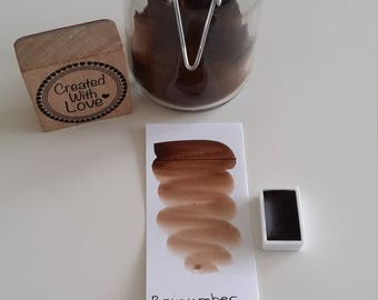Handmade watercolor Raw Umber dark