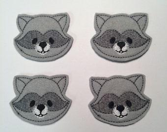 Gray Raccoon Animals Embroidered Felt Applique