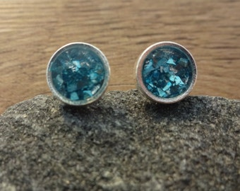 Teal Turquoise Sterling Silver Stud Earrings