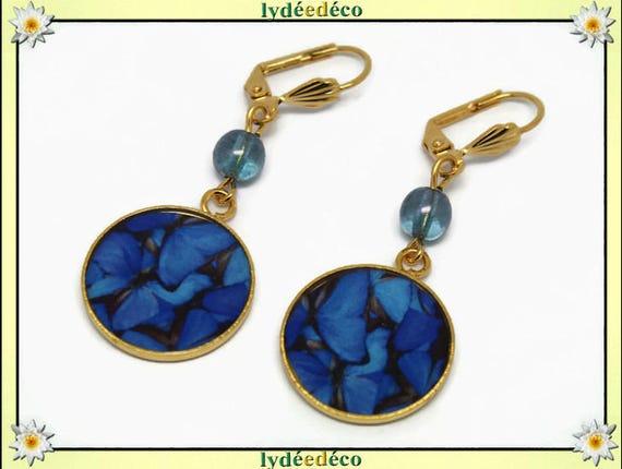 Brass butterfly earrings gold 24 k Midnight blue grey resin resin gift glass beads birthday mother's day thank you teacher
