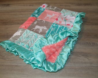 Coral Woodland Minky Blanket - SHIPS today -  Designer Bedding -Girl Woodland Bedding - Deer Blanket -Woodland Bedding -Coral Teal Blanket