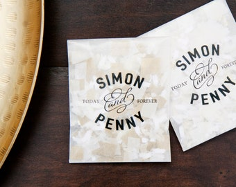 Wedding Confetti Send Off - Personal size Toss Packet Personalized with Names - Today Forever design - 25 finished confetti toss packets