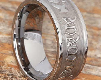 Carved Tungsten Claddagh Ring - Mo Anam Cara Carved Engraving, Wedding Band, Tungsten Rings, Celtic Rings, Claddagh Rings for Men and Women