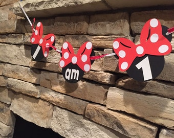 """Minnie Mouse """" I am 1"""" high chair banner. Minnie Mouse Banner, Party Banner"""