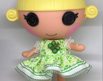 Handmade Dress for Lalaloopsy Little Doll // Little Sister // Doll Clothes // Stocking Stuffer // Under 10 // For Girls // Green