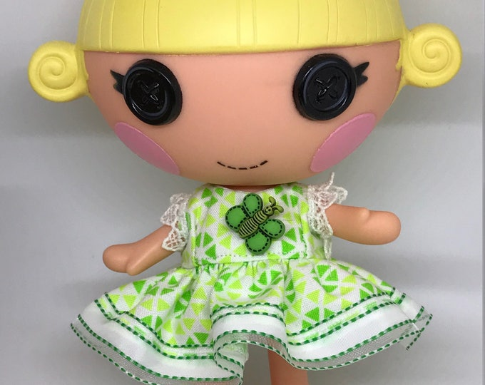 Handmade Dress for Lalaloopsy Little Doll // Little Sister // Doll Clothes // Stocking Stuffer // Under 10 // For Girls // Green