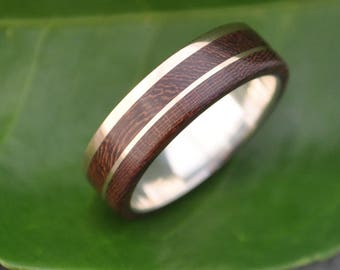 Size 10.25, width 7mm Gold and Silver Un Lado Asi Wood Ring  - ecofriendly 14k recycled gold wood wedding band, mens wood wedding ring