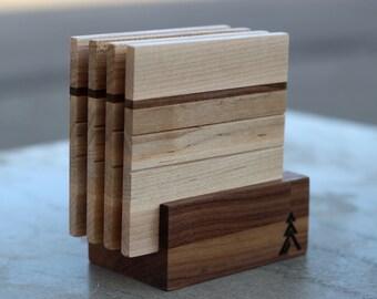 Simple Coasters, Hardwood Coasters, Simple Wood Coasters,  Modern Coaster Set, Coaster Set with Holder