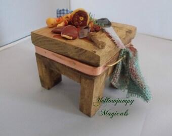 1/12th dollhouse miniature HANDMADE old Butchers block SALE 40% OFF