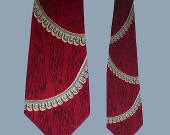 Vintage 50s Wide Silk Tie Modern Industrial Design