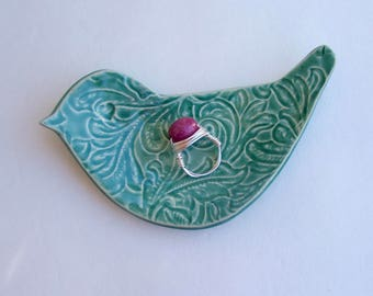 Valentine, Ceramic Hand Built  bird shape dish / Plate. Lacy Green