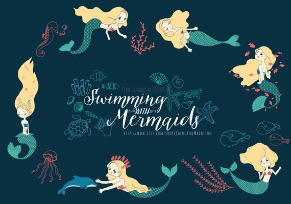 Swimming with mermaids clipart mermaid seaweed ocean vector swimming with mermaids clipart mermaid seaweed ocean vector birthdays invites cardmaking scrapbooking 25 png 300dpi instant download from stopboris Gallery