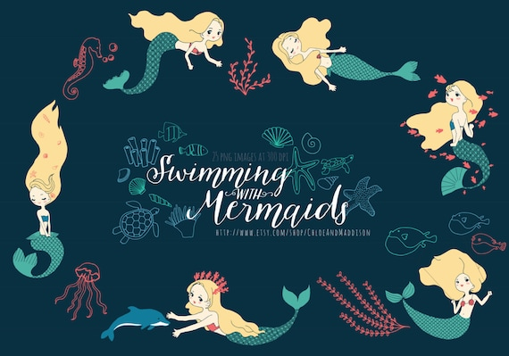 Swimming with mermaids clipart mermaid seaweed ocean vector swimming with mermaids clipart mermaid seaweed ocean vector birthdays invites cardmaking scrapbooking 25 png 300dpi instant download from stopboris