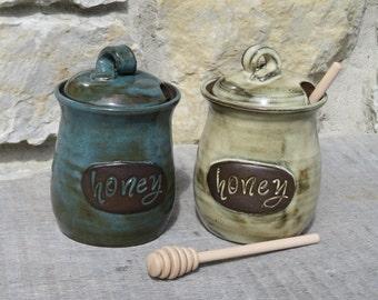 Honey Pot, honeypot handmade pottery honey jar with text