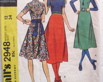 Boho Dress With Bias Skirt Sewing Pattern - McCall's 2948 - Size 12, Bust 34, Uncut