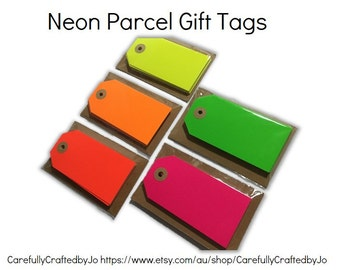 Set 10,20,30,40,50 Neon Parcel Gift Tags - Neon Red,Orange,Yellow,Pink,Green - DIY Gift Tags -favours,gift tags,goodie bag tags, price tags