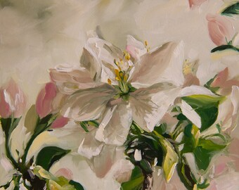 Apple Blossom, 6x6 inches, Oil on Gessobord