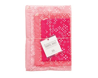Hand-Printed Drawstring Travel Bag Set  - The Pink Collection