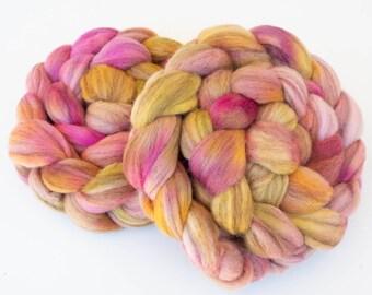 Hand dyed wool top, Polwarth, Merino D'Arles, Captain Poldarles, spinning wool, fibre, Rare breed wool, French Merino, Felting materials
