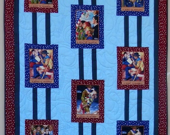 Quilt for Sale, Boy Scout Twin Quilt, Hand Made in America,