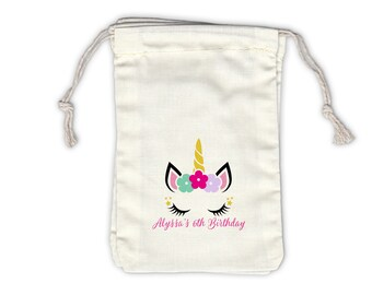 Unicorn Birthday Party Cotton Favor Bags with Flowers - Personalized Girls Party Favor Containers - Ivory Fabric Drawstring Bags - Set of 12
