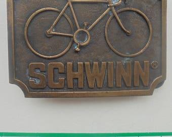Vintage 1977 Schwinn bicycle brass belt buckle