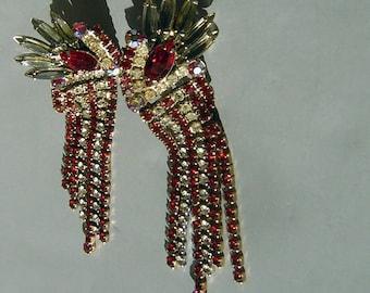 "Vintage Rhinestone Earrings 50s 60s Vegas Showgirl Shoulder Dusters - Whopping 4"" Long & FABULOUS"