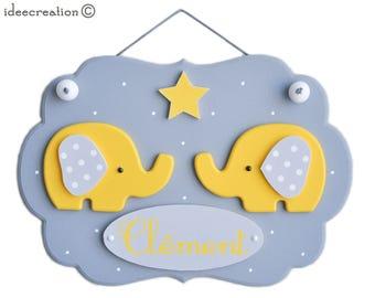 Cadre prénom bébé, déco éléphants en bois (sans la guirlande) pour chambre d'enfant