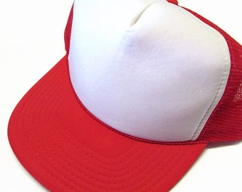 Red and White Mesh Trucker Ball Cap Hat Embroidered Personalized