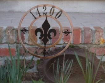 Fleur De Lis Address Yard Stake