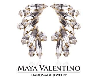 Swarovski earring, Prom jewelry, 14K Gold earrings, chandelier earrings, estate jewelry, gift for her, Estate jewelry, Rhinestone jewelry