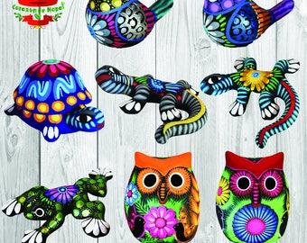Animals in Terrcotta decorated by hand so Artiginale