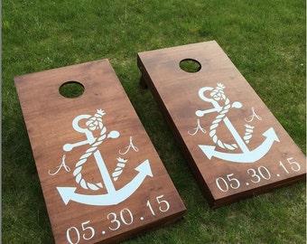 Custom Monogram Wedding Cornhole Boards - Custom Wedding Logo
