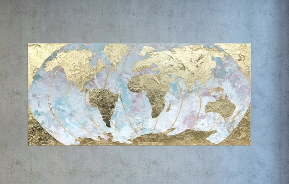World map large world map gold leaf painting map of the gumiabroncs Images