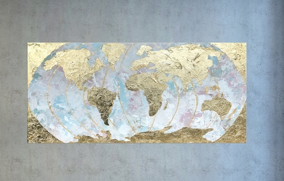 Large world map gold leaf painting map of the world like this item gumiabroncs Gallery