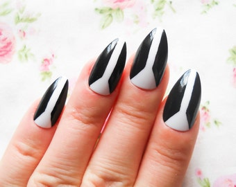 Abstract Stiletto Nails, Fake Nails, False Nails, Acrylic Nails, Press on, Nails, Almond Nails, Stripe, Black, White, Nail Art