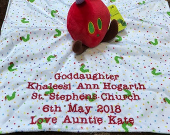 Personalised The Very Hungry Caterpillar Comfortor Blanket, baby comforter