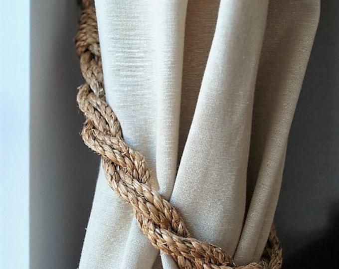 Rustic Manila Rope Curtain Tiebacks /shabby chic /nautical decor/ vintage style tie backs/ rope ties/ rustic tie-backs / nautical curtains
