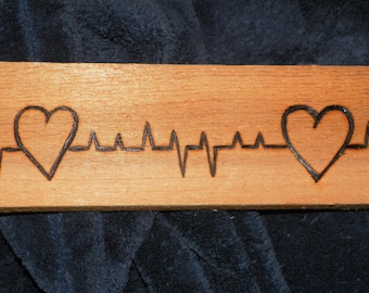 EKG-Two hearts connected  pyrography- original design- on cedar love artwork-ooak